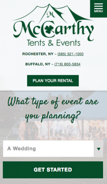 McCarthy Tents & Events Mobile Screenshot